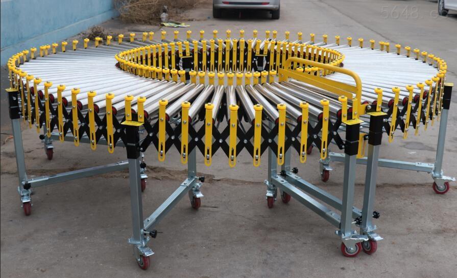 带挡边式无动力伸缩滚筒输送机非标定制
