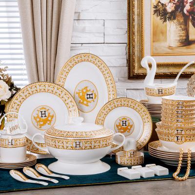 景德镇陶瓷骨瓷餐具套装马仕碗盘碟