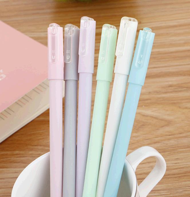 创意马卡龙中性笔 可爱学生糖果色水性笔 优质简约黑色签字笔批发