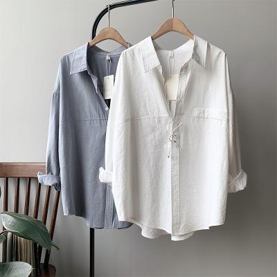 衬衫女棉感仿麂皮2020秋季新款廓形长袖洋气复古衬衣