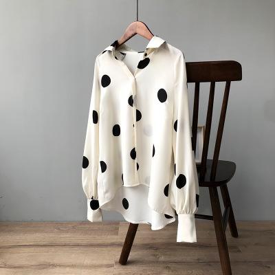 2020秋季新款法式复古波点雪纺衬衫女长袖宽松韩范衬衣