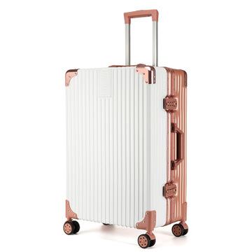 新款拉杆箱铝合金万向轮24寸铝框皮箱旅行箱女行李箱26复古登机箱