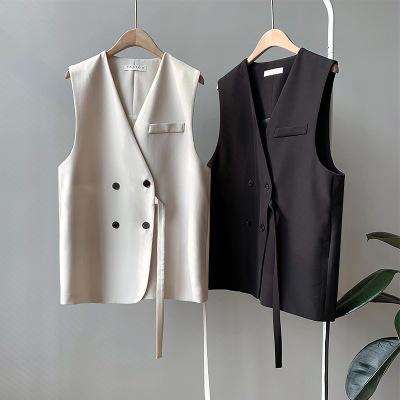 韩版西装马甲女短款2020秋新款宽松V领时尚背心外套