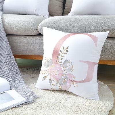 粉色字母桃皮绒抱枕套