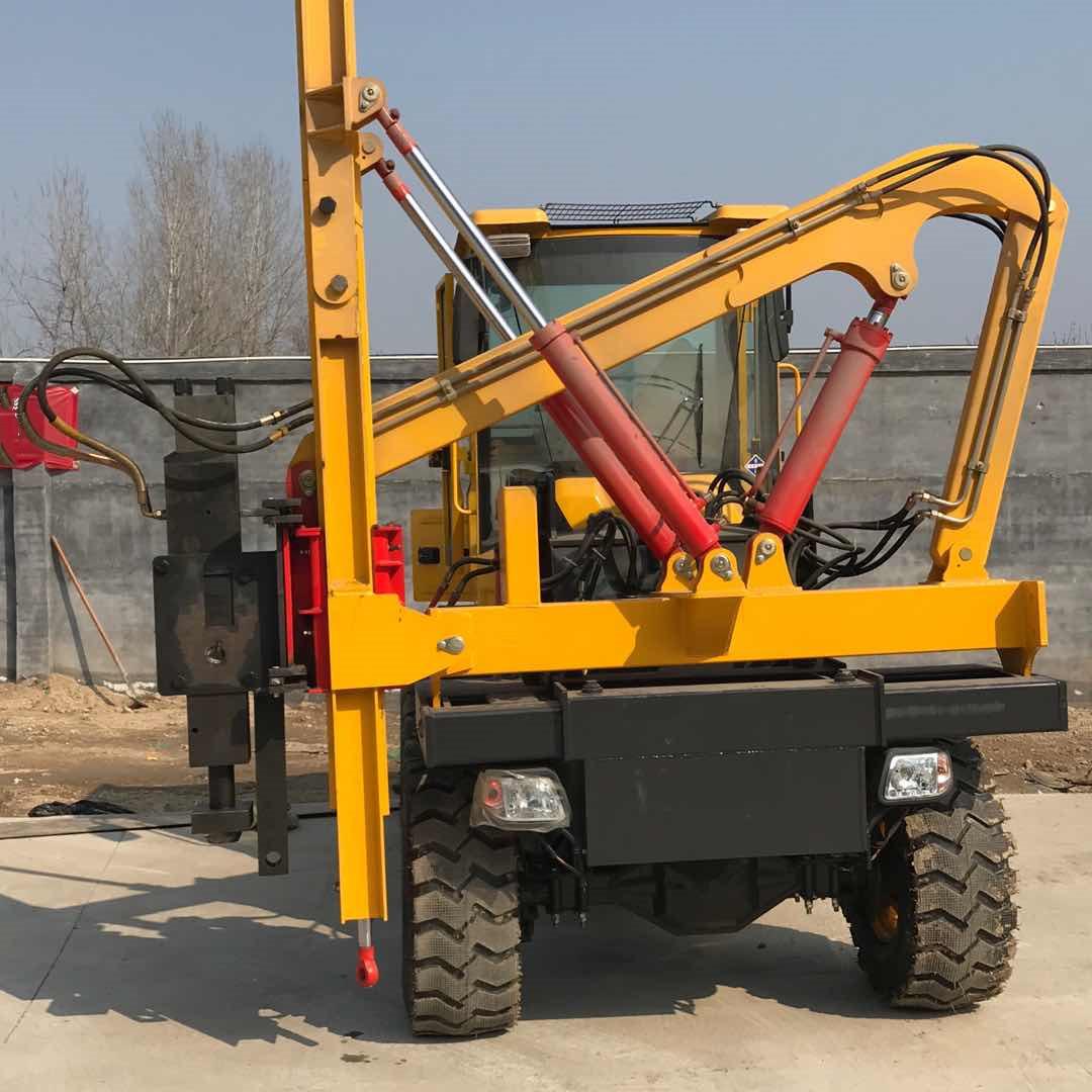 县道修路打桩机 护栏打桩机 液压锤头护栏打桩机