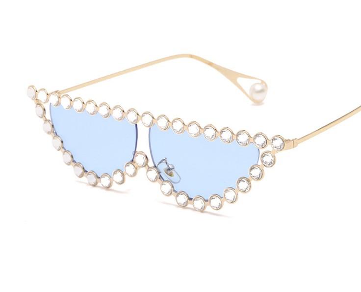 新款欧美潮流大牌同款眼镜 镶钻太阳镜 个性猫眼墨镜厂家批发