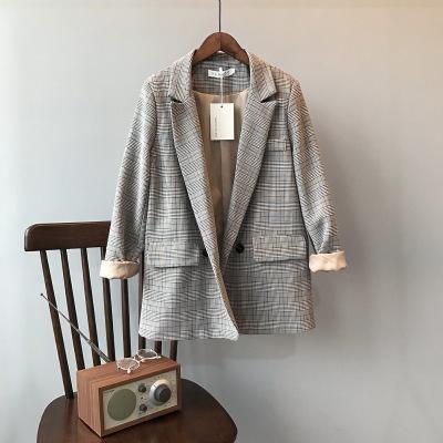 2020秋韩版复古格子西装外套女宽松休闲西服上衣
