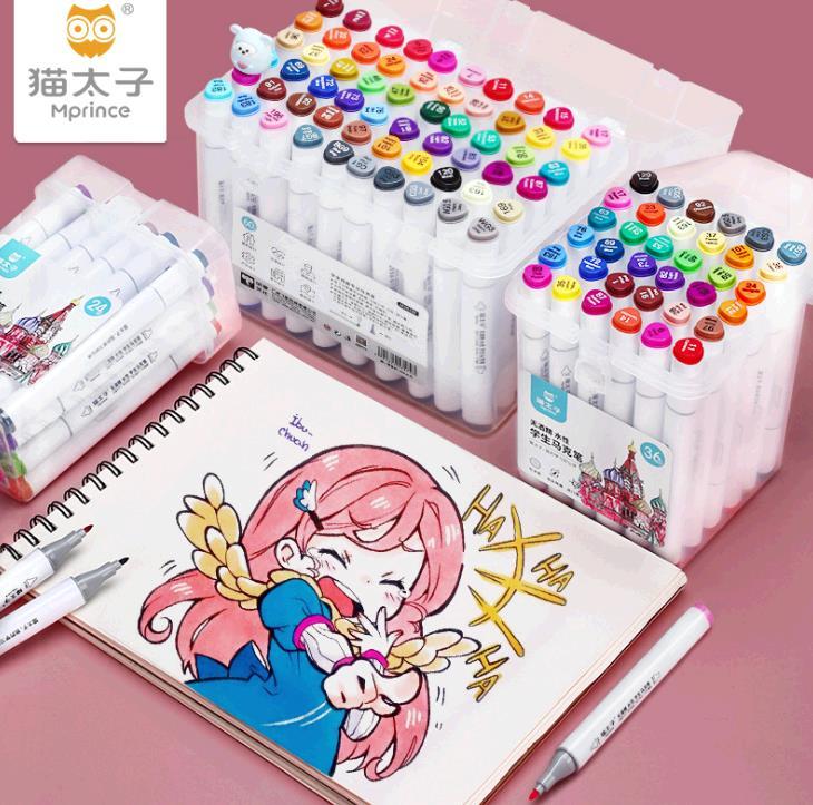 猫太子绘画马克笔儿童水性彩色笔套装 48/60色双头勾线记号笔批发