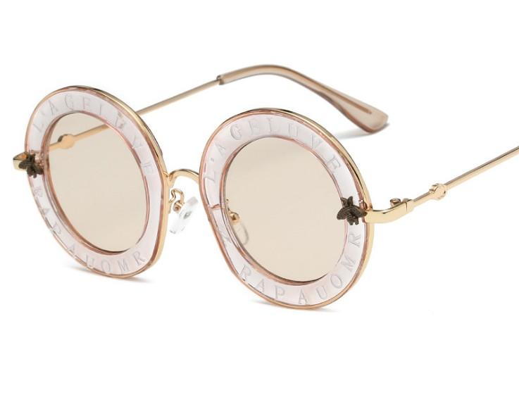 新款圆框太阳镜1828 欧美网红款复古墨镜男女 小蜜蜂个性太阳眼镜