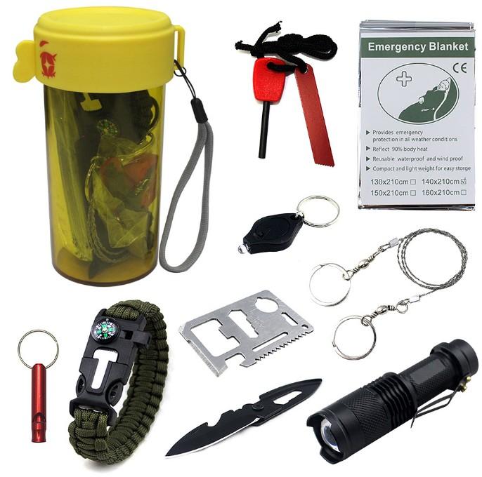 野外多功能救生工具 EVA山地探险便携水杯打火石指南针工具盒套装