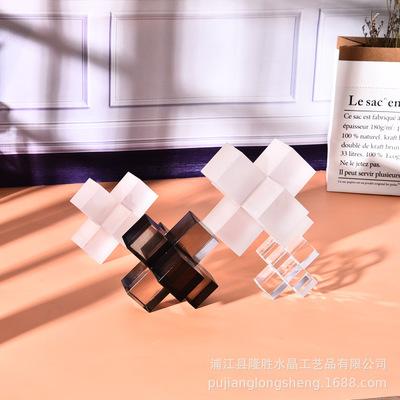 简约轻奢风格水晶方体拼接 家居磨砂摆件十字架
