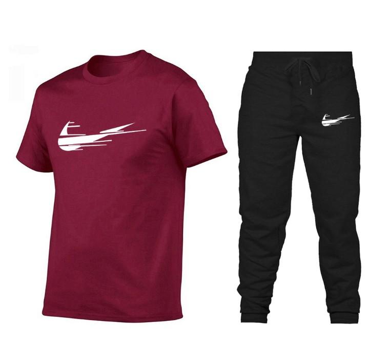 休闲男装2020夏季男士短袖T恤衫潮牌印花纯棉短袖T恤运动套装