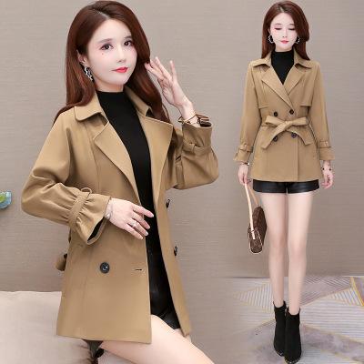 2020秋冬新款女装风衣外套女气质短款英伦风双排扣大衣女一件代发