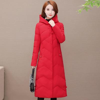 长款外套女棉衣复古棉服女2020冬季新款时尚韩版显瘦过膝连帽棉袄