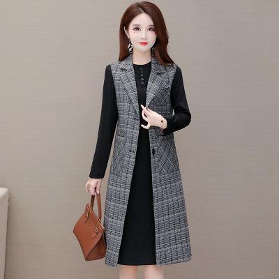 时尚减龄连衣裙风衣套装女2020年秋季新款气质宽松格子马甲两件套