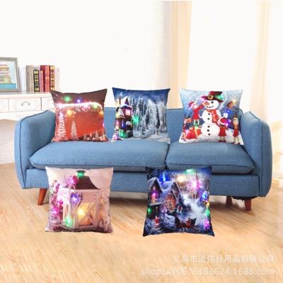 新款创意彩灯LED发光抱枕套 沙发垫套靠枕套坐垫批发定制跨境专供