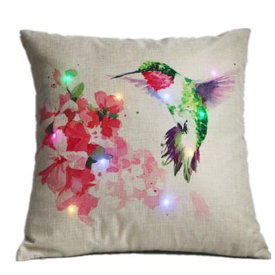 亚马逊爆款LED抱枕套新中式花鸟印花沙发靠枕套家居布艺枕头套