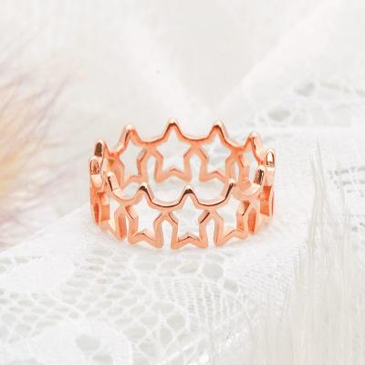 欧美跨境创意爆款复古钛钢星星指环 玫瑰金五角星镂空戒指男女