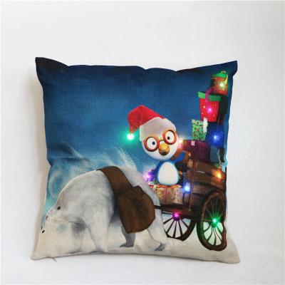 跨境外贸新款彩灯圣诞抱枕LED灯靠枕 创意印花亚麻抱枕套厂家批发