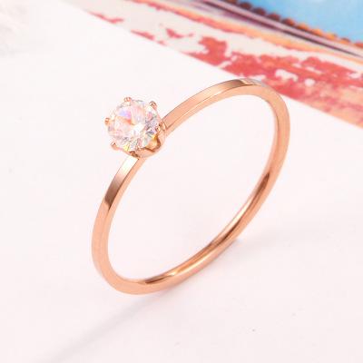 新款热销简约极细六爪单钻石戒指 镶钻玫瑰金钛钢戒指女饰品批发
