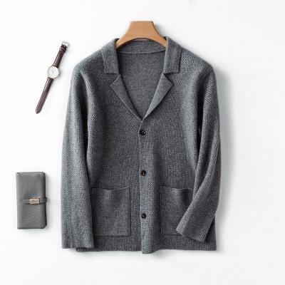 反季羊绒衫男士西装领纯山羊绒加厚开衫大V翻领针织带兜针织外套