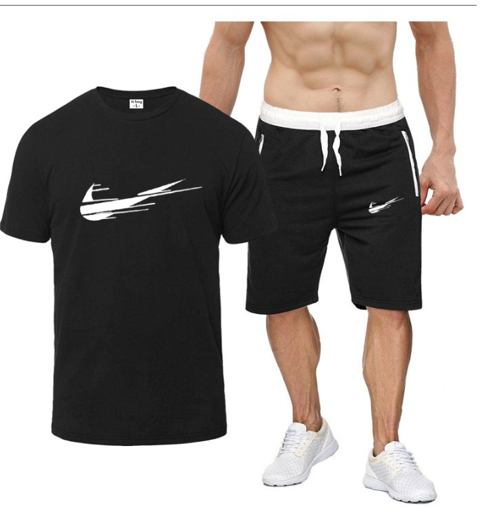 夏季男式潮流全棉短袖T恤衫+拉链口袋短裤休闲运动套装