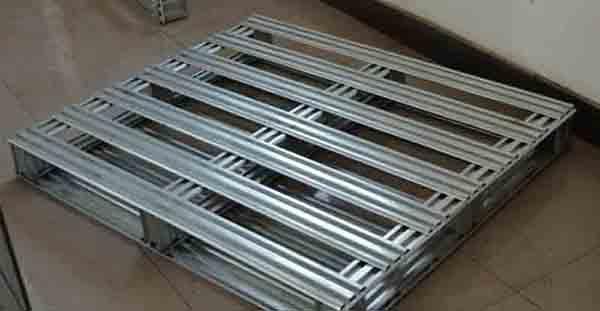 厂家定制金属钢制仓储四面进叉托盘镀锌钢托盘物流叉车单面铁托盘