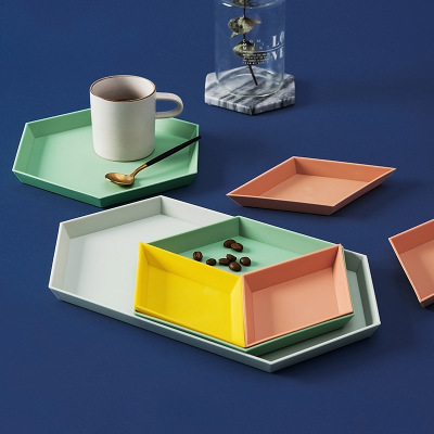 北欧几何收纳果盘创意桌面组合首饰盘托盘多功能收纳瓜子果盘