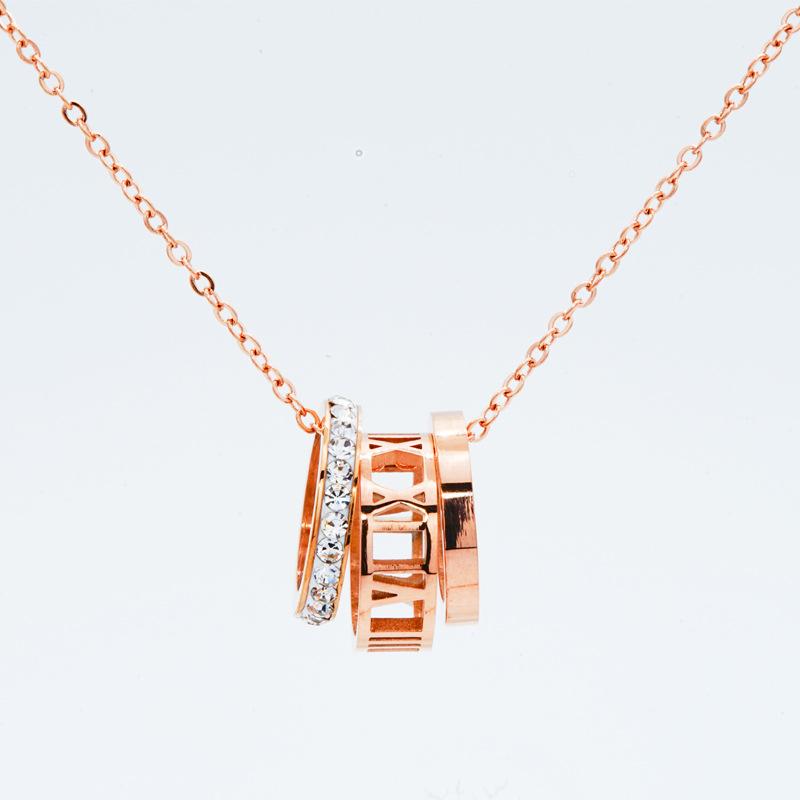 欧美潮流三环满钻镂空罗马数字项链 时尚百搭玫瑰金三件钛钢项链