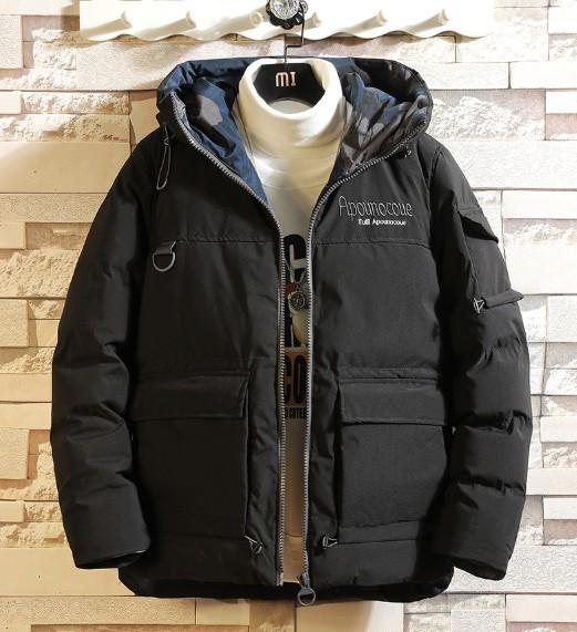 新款冬季保暖外套ins潮流英文刺绣棉衣男连帽加厚棉服