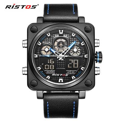 RISTOS/丽梭仕 多功能男士手表运动双显防水腕表 9343