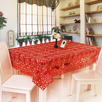 厂家直销喜庆台布 欧式古典绣花桌巾 红色长方形餐桌桌布批发