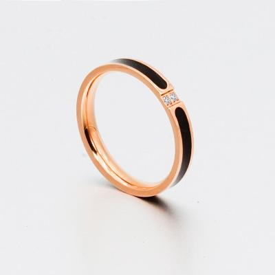 厂家直销欧美跨境爆款时尚简约玫瑰金两颗镶钻钛钢戒指男女情侣款