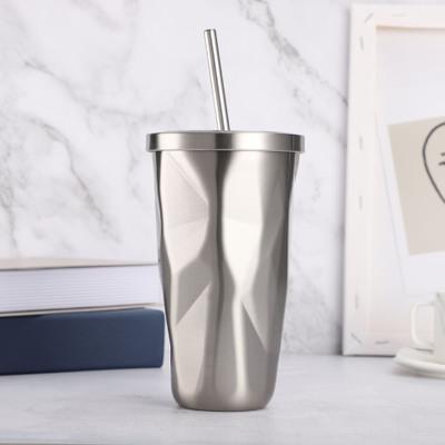 创意吸管杯304不锈钢水杯炫彩冰霸杯便携随手杯一件代发