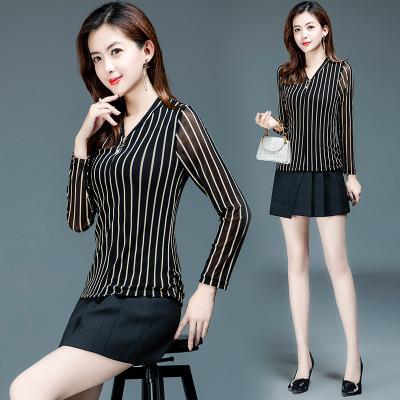 2020秋季女装新款上衣衬衫女设计感小众韩版修身长袖流行条纹衬衣