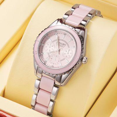 LONGBO/龙波 三眼陶瓷钢带手表防水夜光女士石英表 80303
