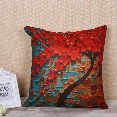 文艺小清新创意家居抱枕套印花定制 厂家批发沙发靠垫套亚麻布套