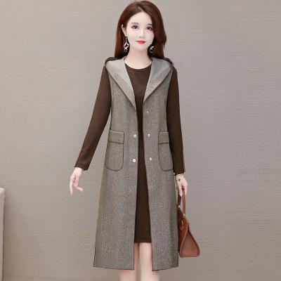 新款2020连衣裙女秋季流行气质时尚洋气长袖印花长裙娃娃领A字裙
