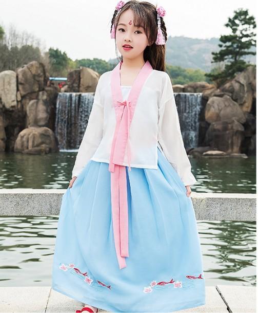 新款儿童汉服小女孩中国风传统刺绣襦裙抹胸齐腰三件套