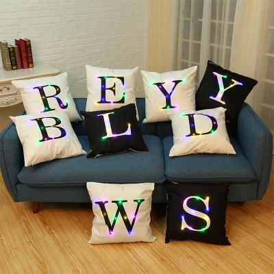 创意LED彩灯字母抱枕套ins网红绒布沙发靠枕套家居布艺抱枕定制