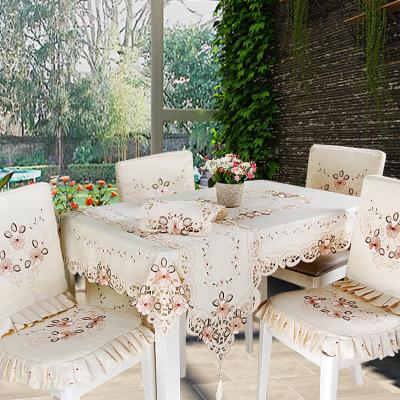 厂家直销橘色绣花台布 绣花镂空桌布 田园家用长方形桌旗一件代发