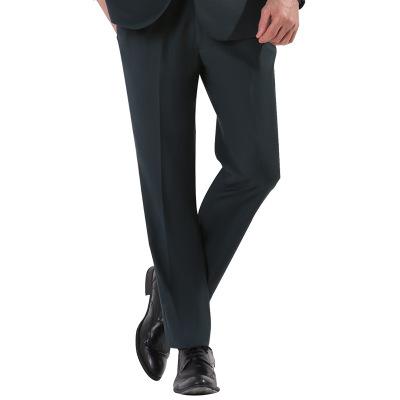 2018新款松紧腰墨绿色婚庆宴会婚礼司仪韩版修身免烫商务男式西裤