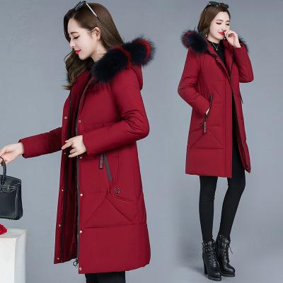 棉衣女秋冬季韩版外套纯色棉服女中长款冬装2020新款修身显瘦棉袄
