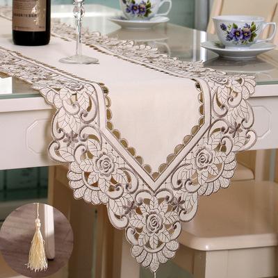 春款绣花镂空桌旗 田园餐桌布茶几布艺 餐桌布艺外贸一件代发