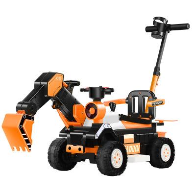 2020新款多功能儿童电动挖掘机带推杆 宝宝电动工程车