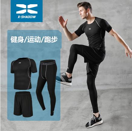 健身服男紧身衣健身房晨跑步速干篮球运动套装训练服装秋冬三件套