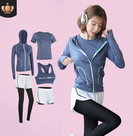 运动套装女春季新款健身裤女网红大码瑜伽服女套装运动文胸五件套