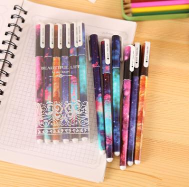 黑色星空中性笔卡通学生用品韩国创意文具0.5mm针管签字笔6只一盒