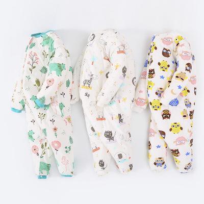 婴儿分腿睡袋加厚宝宝防踢被秋冬0-3岁儿童连体睡衣带鞋