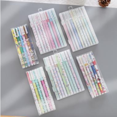 彩色清新卡通碎花中性笔 文化办公用品水笔 创意文具 6支/10支装